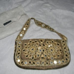 Gold Satin Mirror Embellished Clutch